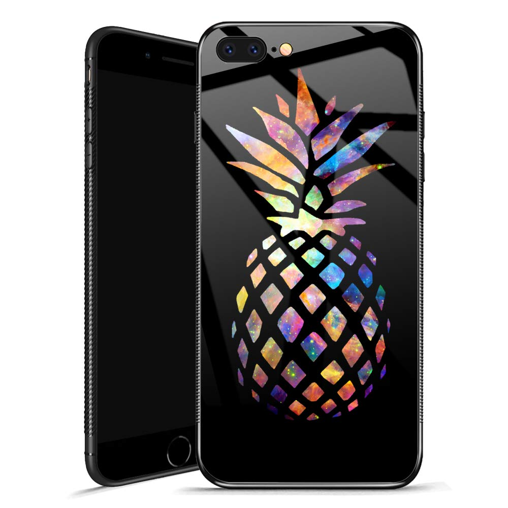 iPhone 8 Plus Case,Sunflower Moon Star Sky iPhone 7 Plus Cases for Girls,Tempered Glass Back Cover Anti Scratch Reinforced Corners Case for iPhone 7/8 Plus (Colorful Nebula Pineapple, iPhone 7/8 Plus)