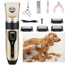 JHK Pet Hair Clipper Kit, Wireless Low Noise Rechargeable with Scissors and Comb Can be Used for Cat and Dog Pet Hair Clipper