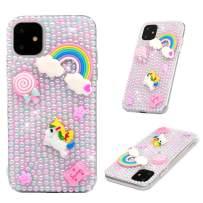 iPhone 11 Case, Mavis's Diary 3D Handmade Luxury Bling Crystal Pink Pearl Rainbow Unicorn Colorful Shiny Crystal Diamond Glitter Rhinestone Gems Clear Hard PC Cover for iPhone 11