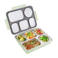 Sumerflos Large Bento Box, Leak Proof Lunch Box Containers, 5 Compartments Stainless Steel Food Containers for Adults, On-the-Go Meal and Snack (Green)