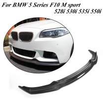 JC SPORTLINE fits BMW 5 Series F10 F11 M Sport 530i 535i 550i Bumper Sedan Touring 2012-2016 Carbon Fiber Front Spoiler CF Lower Lip Bumper Cover Protector