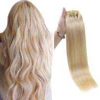 Full Shine Seamless Clip In Hair Extensions 8 Pieces 20 Inch Skin Weft Invisible Clip Hair Extensions 100 Gram Color 613 Blonde Clip In Real Hair Extensions De Cabello Natural Clip Ins