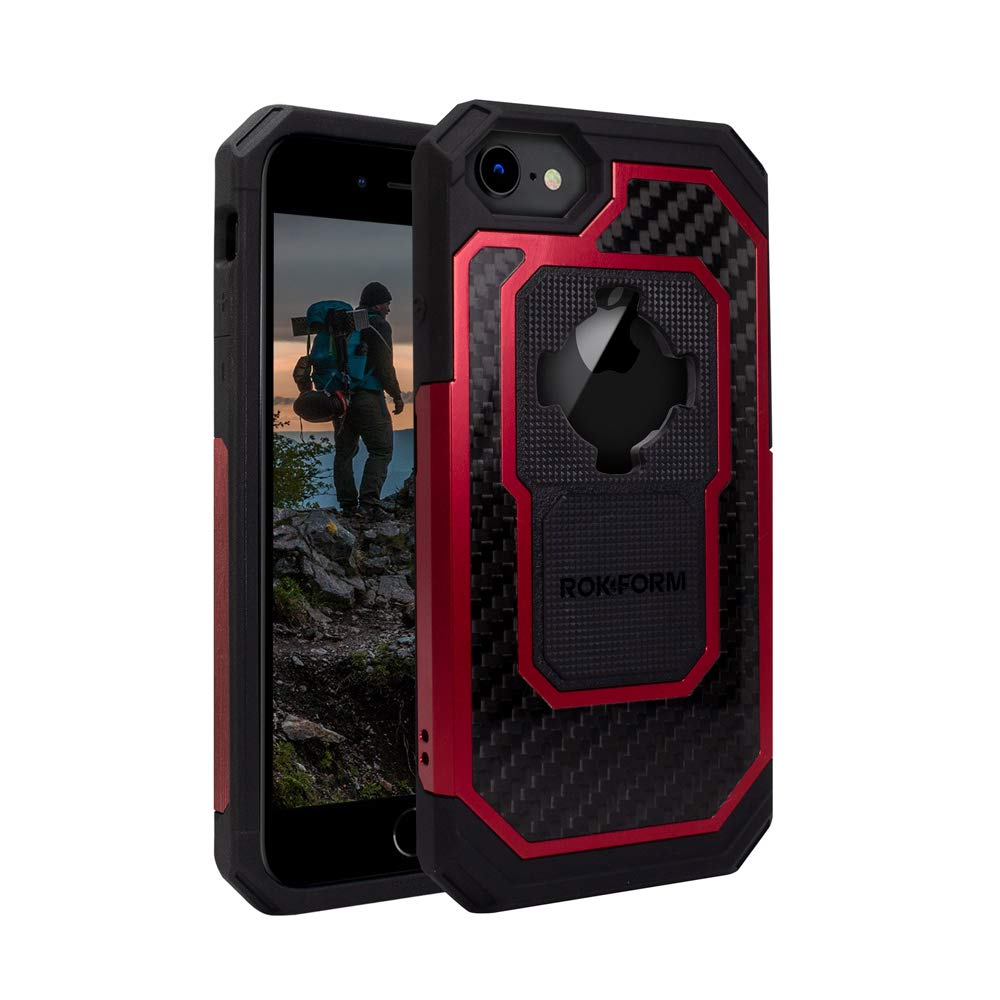 Rokform Fuzion Pro Series [iPhone 8/7/6/6s] Protective Aluminum & Carbon Fiber Magnetic case with Twist Lock  (Red)