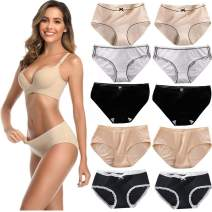 Pruleck Women's Cotton Underwear Briefs Ladies Soft Breathable Full Coverage Bikini Panties Multipack