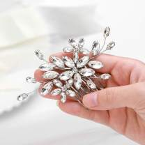 Catery Crystal Bride Hair Comb Wedding Hair Accessories with Flower Bridal Baby Breath Side Combs for Women and Girls