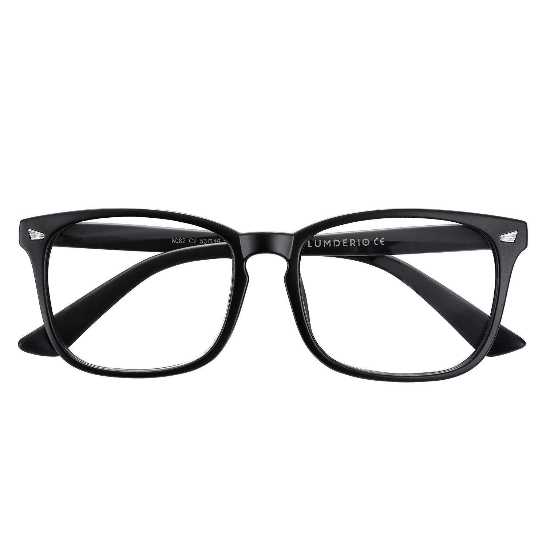 LUMDERIO Blue Light Blocking Glasses Anti Eyestrain Eyeglasses Filter Ray Computer Gaming Reading Nerd Square Frame Unisex (Women/Men)