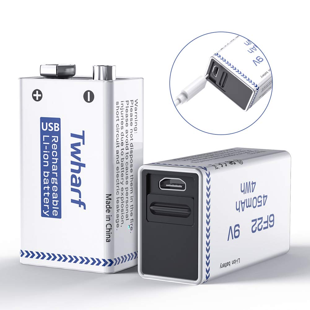 Twharf USB Rechargeable 9V Lithium Battery 450mAh 9V Battery Rechargeable with Build-in Safety Protection Chip 9V Rechargeable Batteries (2 Pack)