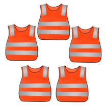 Kids Reflective Vest High Visibility Breathable Vest Bright Color Safety Vest Lightweight Traffic Vest Construction Worker Vest Neon Orange with Reflective Straps 5PCS
