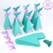 Aytai 50Pcs Mermaid Party Boxes Favors Mermaid Gift Box with Shell Stickers for Kids Birthday Mermaid Baby Shower Mermaid Birthday Party Supplies
