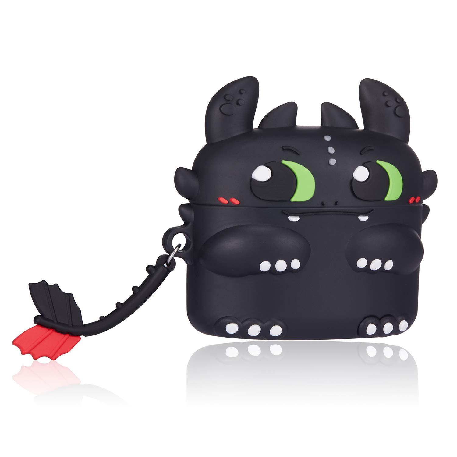 Gift-Hero Black Toothless Case for Airpods Pro/for Airpods 3, Cartoon Funny Cute Design for Girls Boys Kids, Unique Carabiner Protective Fun Fashion Character Skin Soft Silicone Cover for Air pods 3