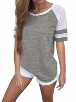 Voopptaw Women's Short Sleeve Raglan Tee Round Neck Color Block Striped T-Shirt Top