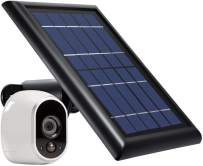 Wasserstein Solar Panel with Internal Battery Compatible with Arlo HD ONLY - Power Your Arlo Surveillance Camera continuously (Black) (Separate External Battery NOT Included)