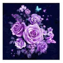 Purple Rose Flower Diamond Painting - PigBoss 5D Full Drill Flower Diamond Embroidery Crystals Diamond Dots Kit Cross Stitch Art Gift for Adults (13.8 x 13.8 inches)