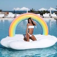 techcity Giant Inflatable Unicorn Pool Float Floatie Ride On Summer Beach Swimming Pool Raft Lounge, Swim Party Toys, Adults & Kids (Rainbow)