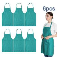 LOYHUANG Total 6PCS Baby Blue Bib Aprons Bulk with 2 Pockets for Women Men Adult - Chef Cooking Kitchen (6, Baby Blue)