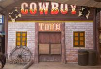 Baocicco 7x5ft Cowboy Backdrop Photography Background Shabby Cowboy Town Saloon Pub Wheel Buckets for Photo Studio Props
