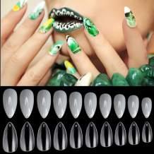 Noverlife 1200PCS Full Cover Short Mountain Peak Fake Nails, 10 Sizes, Clear & Natural, Manicure Acrylic UV Gel Polish False Nail Tips, Artificial Nail Art Finger Nails for Salon & DIY Nail Design