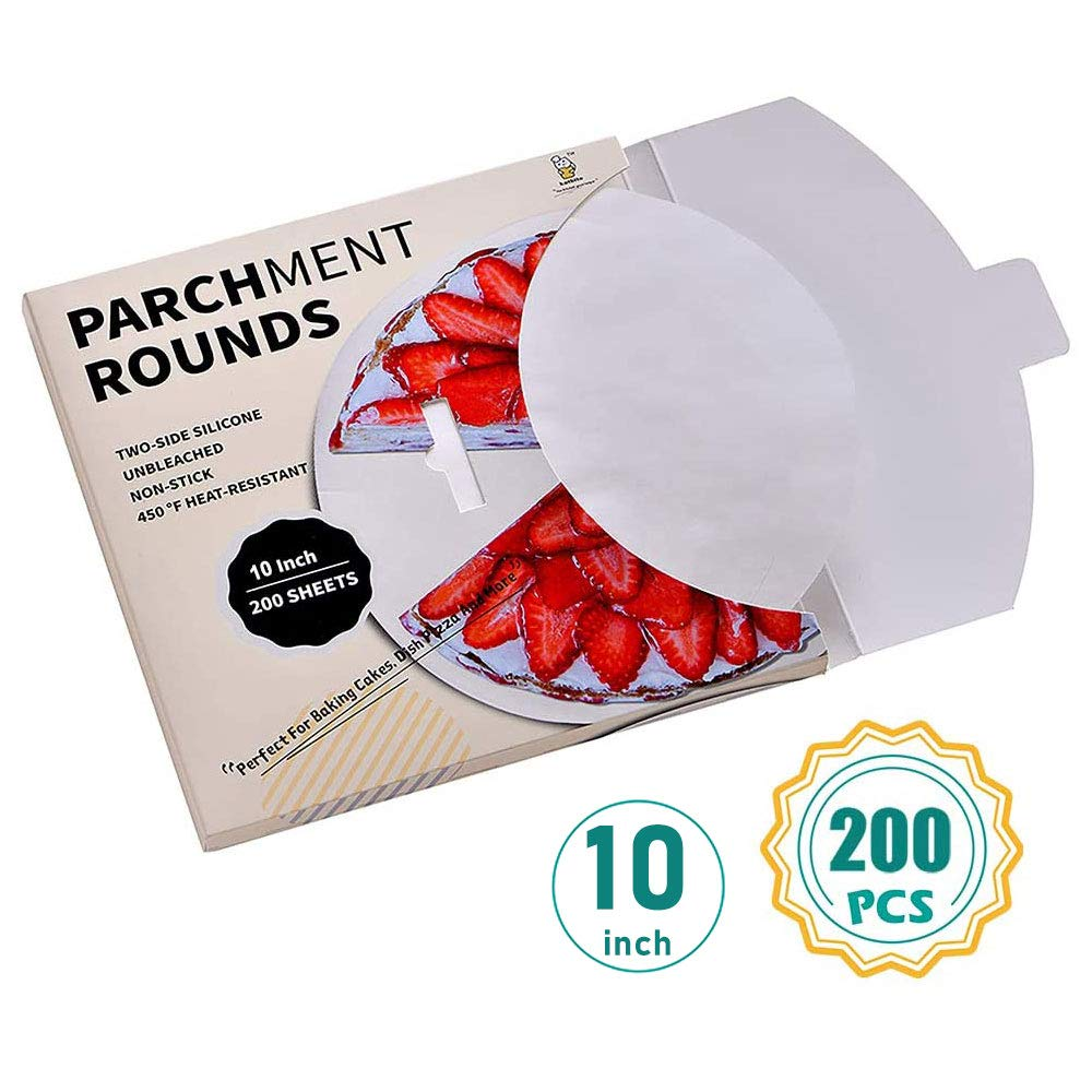 """10/"""" 8/"""" 6/"""" Greaseproof Circles Siliconised Round Baking Paper Cake Liners"""