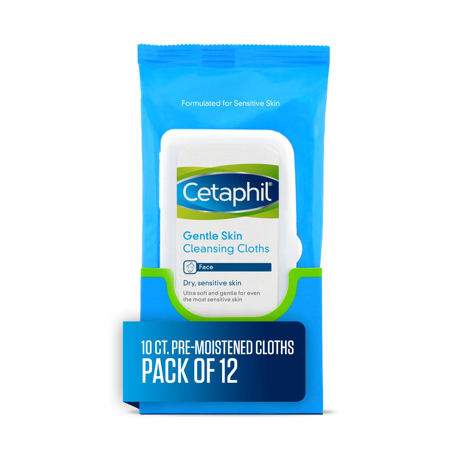 Cetaphil Gentle Skin Cleansing Cloths for Dry, Sensitive Skin, Face Cleansing Wipes, 10 Count (Pack of 12)
