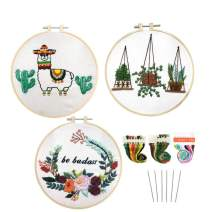 Louise Maelys 3 Pack Hand Embroidery Starter Kit for Adults Cross Stitch Needlepoint Kits Stamped Pattern Beginner Embroidery Kit