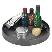 mDesign Wide Plastic Spinning Lazy Susan Round Turntable Storage Tray - Rotating Organizer for Vitamins, Supplements, Serums, Medical Supplies, Shaving Kits, First Aid - Charcoal Gray
