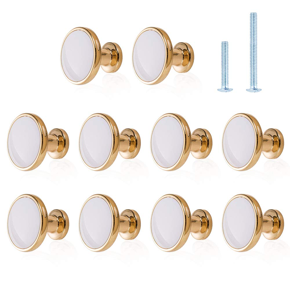Kitchen Cabinet Knobs Jiayi 10 Pack Gold Knobs for Dresser Drawers Pull and Knobs Round Bathroom Knobs for Cabinets Decorative Furniture Drawer Knobs and Handles Cabinet Hardware Brass Cupboard Knobs