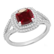 Dazzlingrock Collection 7 MM Cushion Lab Created Gemstone & Round White Diamond Ladies Engagement Ring, Sterling Silver