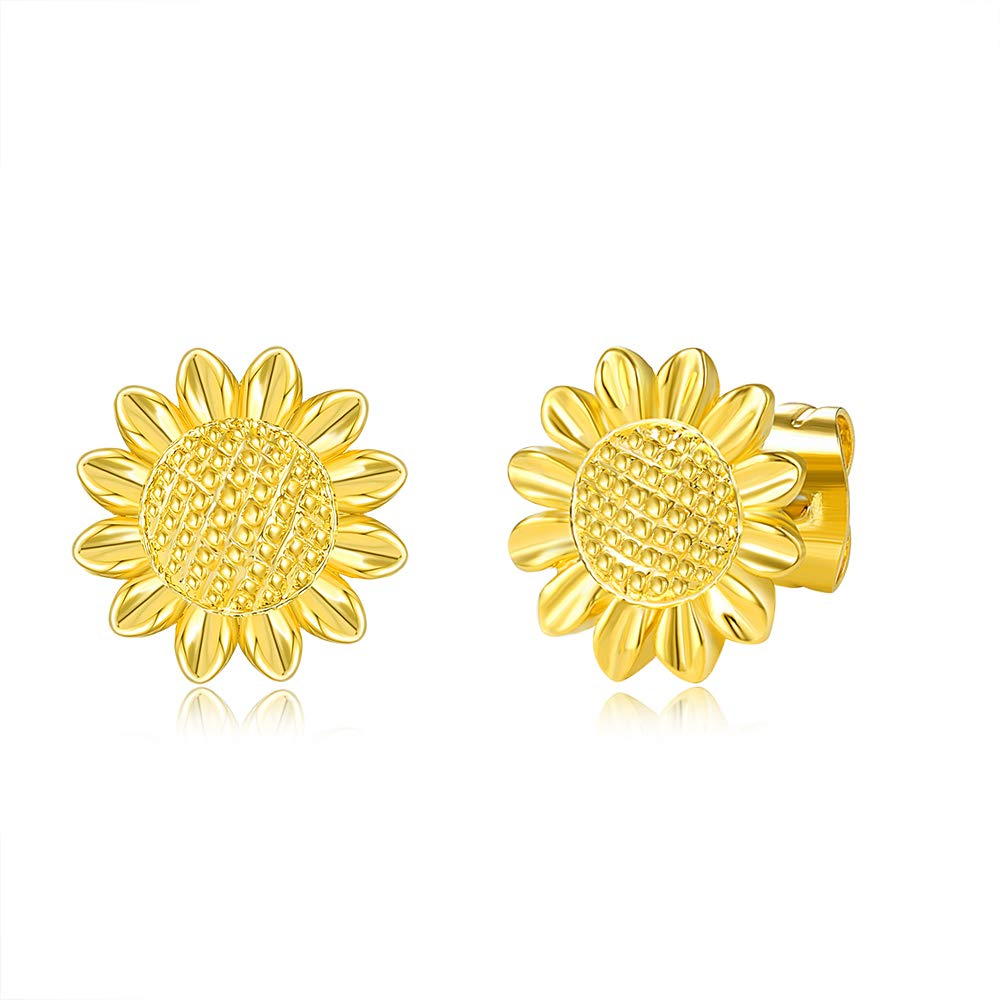 Sunflower Stud Earrings Hypoallergenic Daisy 14K Gold Plated Sun Flower Post Earring Jewelry Gifts for Women Girls Friends with Gift Card