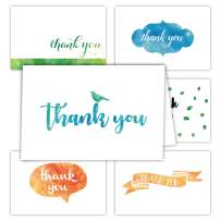 Gooji 4x6 Watercolor Thank You Cards (Bulk 36-Pack) Matching Peel-and-Seal White Envelopes   Assorted Set, Colorful Graphics   Birthday Party, Baby Shower, Weddings, Graduation