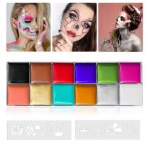 12 Color Face Body Paint Kit, Professional Face Painting Kit for Kids & Adults - Non-Toxic, Hypoallergenic Paints Palette with 8 Painting Stencils for Halloween Party Cosplay (#03 (96g / 3.38oz))