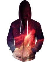 sankill Unisex 3D Galaxy Zipper Hoodie Sweatshirt Fleece Pullover Hooded Shirts Pocket (Small/Medium, Flame)