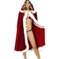 CA Mode Women Christmas Mrs Santa Claus Cloak Xmas Costume Cappa Cloak Cape