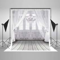 Kate Wedding Photography Backdrop White Curtain Chandelier Background Vintage Wood Floor Backdrop for Photo Studio 6.5x10ft