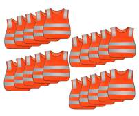 AIEOE 20 Pack Kid's Reflective Safety Vest High Visibility for Costume Cycling (Orange-20pack)