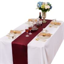 LOVWY Pack of 15 Satin Table Runner 12 x 108 Inches for Wedding Party Engagement Event Birthday Graduation Banquet Decoration (Colors Optional) (Burgundy)