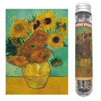 Small Jigsaw Puzzles for Adults and Kids Oil Painting Sunflower by Van Gogh Mini Jigsaw Puzzles 150 Pieces 6 x 4 Inches