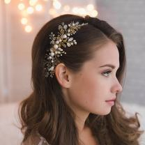 Kercisbeauty Wedding Bridal Bridesmaids Flower Girl Crystal and Pearl Side Hair Comb Slide Headpiece Long Curly Bun Hair Accessories for Prom (Rose Gold)