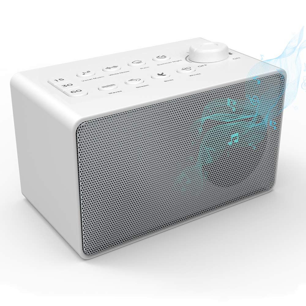 Onvian White Noise Machine - Sound Machine with 8 Natural Soothing Sounds - Portable Sleep Sound Therapy for Home, Office or Travel - Plug in Or Battery Powered