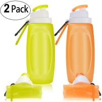 TURN RAISE Collapsible Water Bottles, Silicone Collapsible Water Bottles for Travel & Outdoor Sports, Leak Proof Hiking Water Bottle, Foldable Roll Up Cup, BPA Free (11.29/17 oz)
