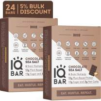 IQBAR Brain + Body Protein Bars, Chocolate Sea Salt, Keto, Vegan, Paleo Friendly, Low Sugar, Low Net Carb, High Fiber, Gluten Free, No Sugar Alcohols, 24 Count