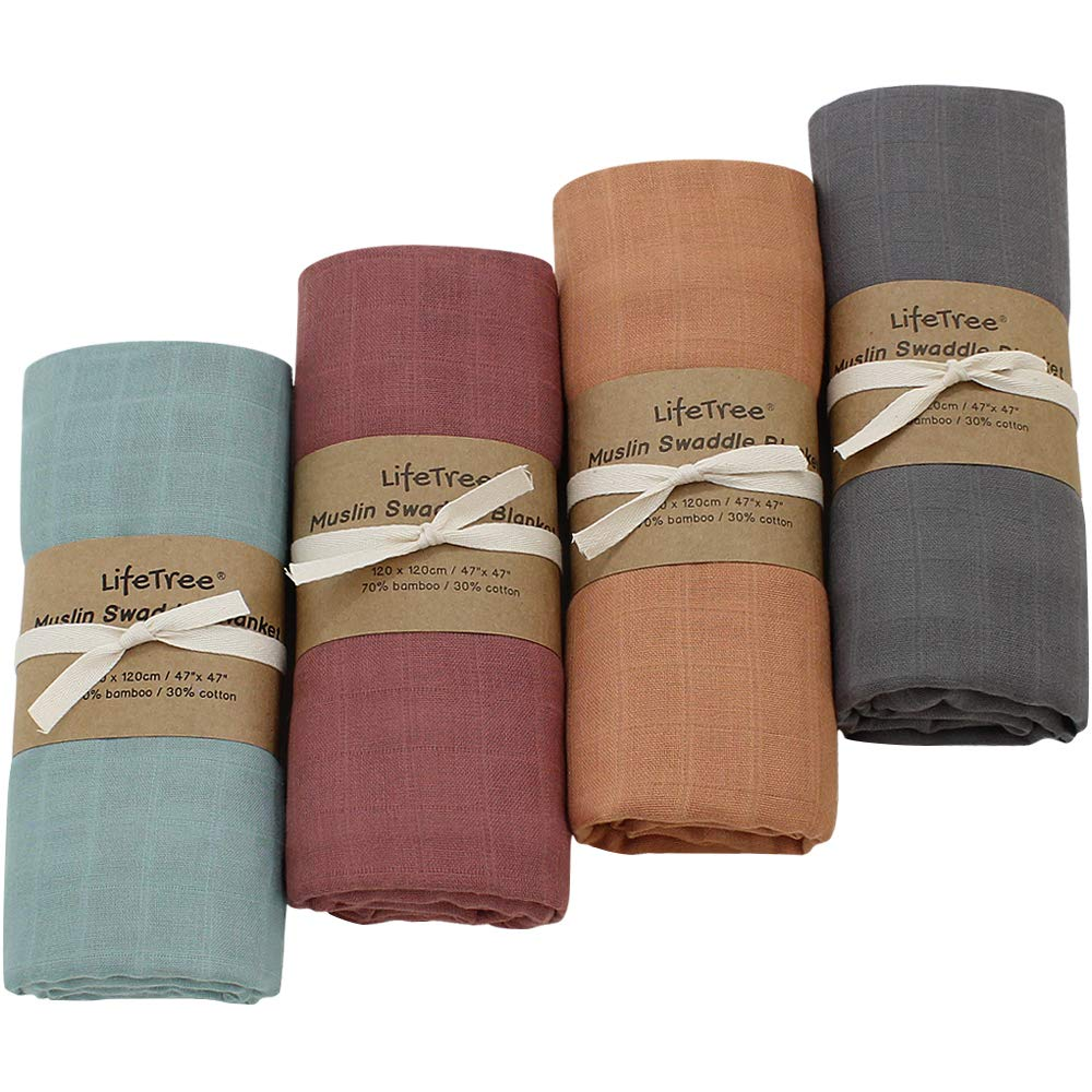 LifeTree 4 Pack Solid Swaddle Blankets, Soft Baby Muslin Receiving Blanket Wrap for Boys & Girls, Large 47 x 47 inches, Fall Solid Color Baby Swaddling