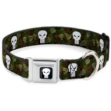 Buckle-Down Seatbelt Buckle Dog Collar - Punisher Logo4 Stacked/Repeat Camo Olive/White