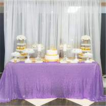 B-COOL Lavender Sequin Tablecloth 90inx90in Lilac Square Sequined Fabric Tablecloth Shiny Sequin Tablecloth Glitter Table Cloth Wedding Table Decorations