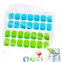 Ice Cube Trays 2 Pack, Silicone Ice Tray with Removable Lid Easy Release Crushed Ice Trays Stackable for Freezer, 14 Cavities Flexible Ice Cube Molds for Cocktail, Whiskey, Chocolate, BPA Free