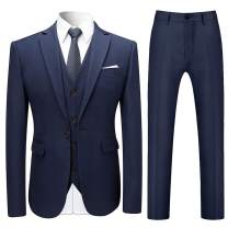 Mens Slim Fit 3-Piece Suits Solid Color Classic Fit One Button Blazer Tux Vest & Pants
