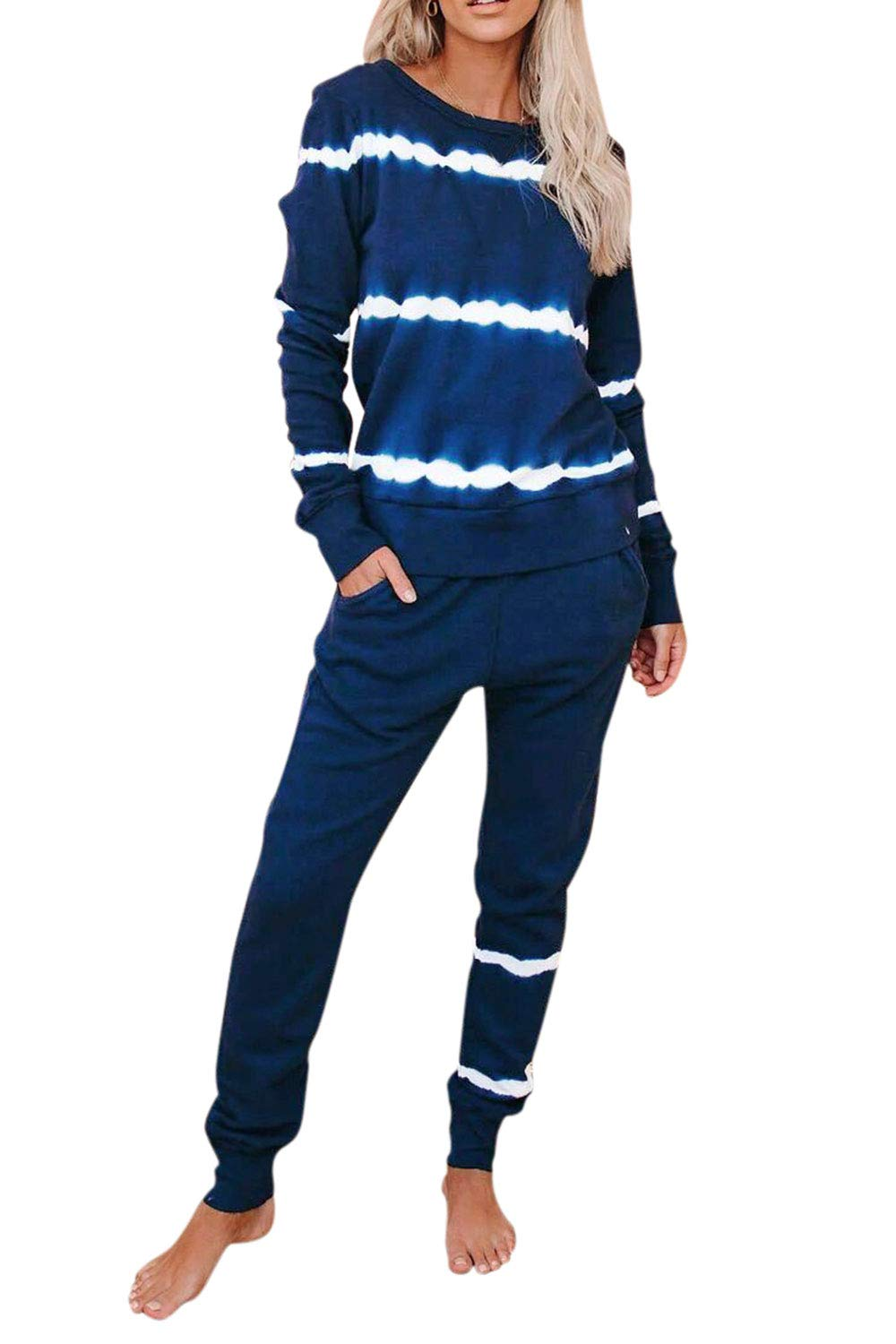 Fixmatti Womens Tie Dye Outfits Long Sleeve Casual Stripes Sweatsuits Set