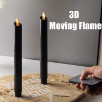 """8"""" Black Flameless Taper Candles,Amber Warm White LED Moving Wick Flame with RF Remote and 5 Hours Timers,LED Battery Operated Real Wax Candle for Table Centerpieces, Party Decoration,Set of 2"""
