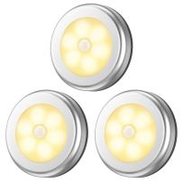 AMIR Motion Sensor Light, Cordless Battery-Powered LED Night Light, Closet Lights Stair Lights, Puck Lights, Safe Lights for Hallway, Bathroom, Bedroom, Kitchen (Warm White - Pack of 3)