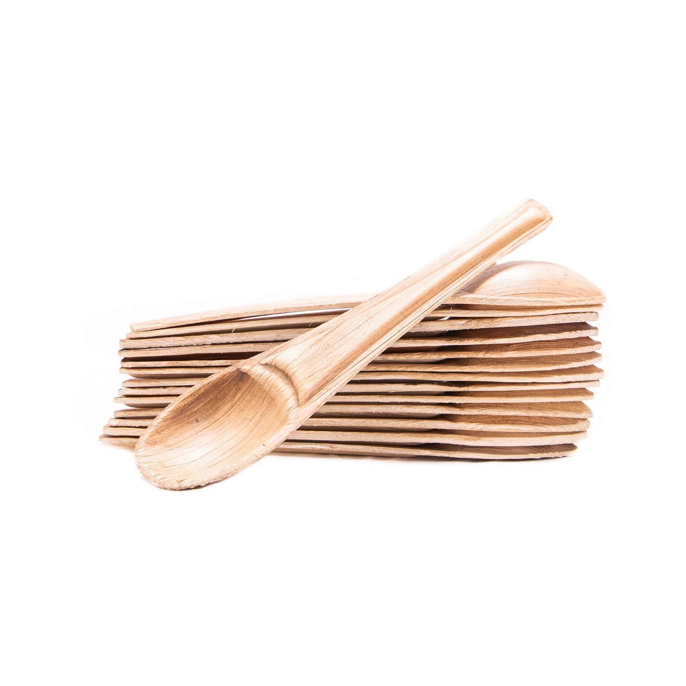 Naturally Chic Palm Leaf Tea Spoons | 6 Inch Biodegradable Disposable Serving Utensil Bulk Set - Eco Friendly - Desserts, Parties, Coffee, Soups (25 Pack)
