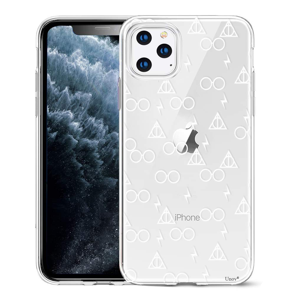 Unov Clear with Design for iPhone 11 Pro Case Slim Protective Soft TPU Bumper Embossed Pattern Cover 5.8 Inch (Death Hallows)